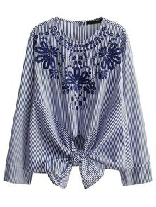 Blue Embroidery Vertical Striped Knot Detail Blouse