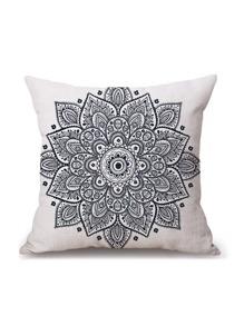 White Vintage Flower Print Pillowcase Cover