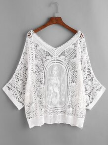 White Crochet Lace Beach Cover Up