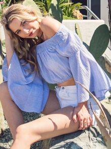 Bell Sleeved Bardot Crop Top LIGHT BLUE