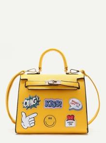 Yellow Letter Pattern PU Satchel Bag