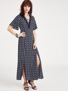 Navy Floral Print Crisscross V Neck Slit Dress