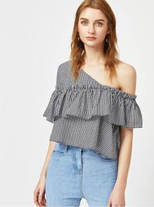 Black And White Checkered Asymmetric Off The Shoulder Ruffle Top