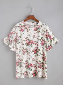 White Floral Print Ruffle Sleeve T-shirt