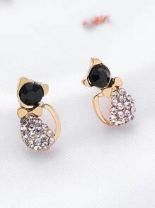 Rhinestone Cat Shaped Stud Earrings