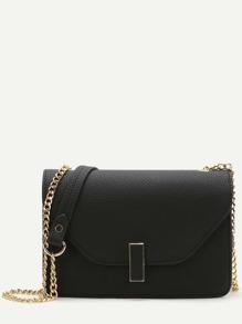 Black Flap PU Shoulder Bag