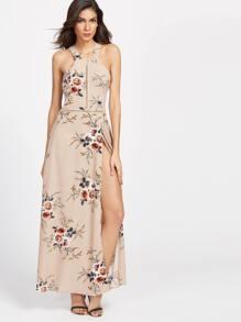 Khaki Florals Halter Open Back High Slit Dress