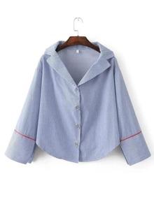 Blue Striped Split Cuff Blouse