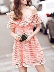 Pink One Shoulder Ruffle Hollow Dress