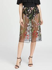 Embroidered Sheer Mesh Skirt