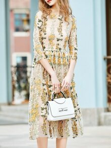 Apricot Gauze Flowers Embroidered Sheer Dress