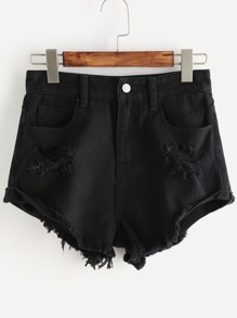 Black Roll Cuff Ripped Denim Shorts
