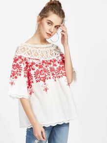 White Crochet Detail Two Way Embroidered Top
