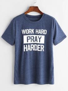Heather Blue Slogan Print T-shirt