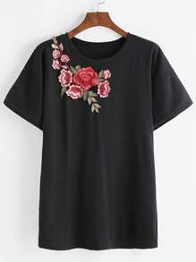 Black Drop Shoulder Applique T-shirt