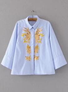 Blue Striped Sequin Embroidered Blouse