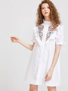 Ruffle Detail Tie Sleeve Embroidered Shirt Dress