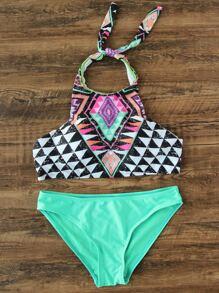 Geometric Print Halter Mix & Match Bikini Set