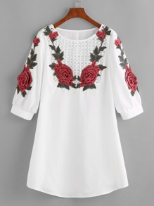 White Crochet Yoke Rose Applique Lantern Sleeve Dress
