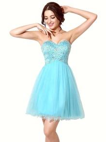 Sky Blue Rhinestone Embellished Sweetheart Bridesmaid Dress