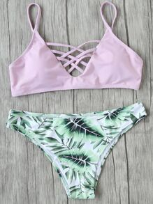 Pink Leaf Print Criss Cross Mix & Match Bikini Set