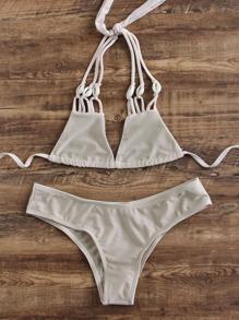 Khaki Strappy Triangle Bikini Set