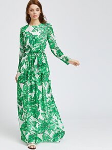 Palm Leaf Print Maxi Dress
