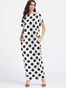 Black And White Polka Dot Print Pocket Side Cocoon Dress