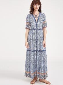 Blue Ornate Print Deep V Neck Button Up Dress