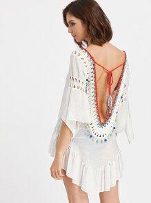 White Crochet Trim Scoop Back Asymmetric Ruffle Top