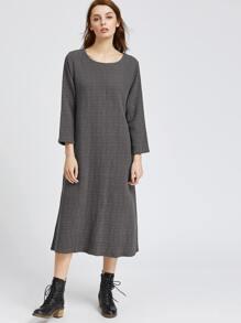 Dark Grey Slit Back Shift Dress With Pockets