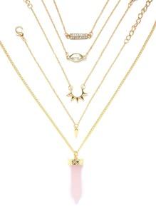 Pink Crystal Pendant Necklace With 4Pcs Bracelet