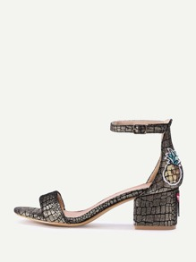 Gold Stone Pattern Ankle Strap Block Heeled Sandals