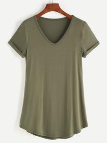 V-neckline Rolled Sleeve T-shirt