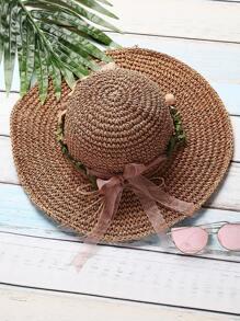 Khaki Flower Detail Straw Hat With Bow