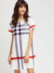 White Plaid Print Short Sleeve Tee Dress