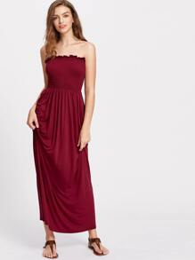 Burgundy Frill Detail Smocked Tube Dress