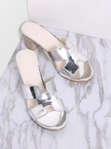 Silver Cutout Detail Chunky Heeled Sandals