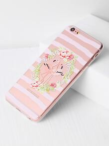 Flower And Bird Print Clear iPhone 6 Plus/6s Plus Case