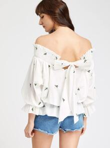White Smocked Off The Shoulder Bow Back Embroidered Blouson Top
