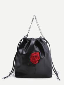 Black Rose Embroidery Drawstring Bucket Bag