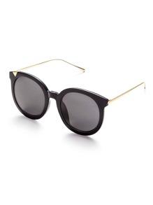 Black Frame Metal Arm Grey Lens Sunglasses