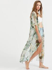 Green Tropical Print Side Slit Kimono