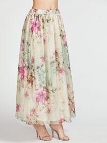 Beige Flower Print Elastic Waist Long Skirt
