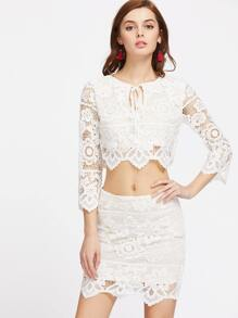 Tie Neck Lace Crop Top With Skirt
