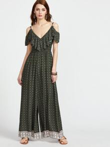 Green Ornate Print Ruffle Cold Shoulder Wide Leg Jumpsuit