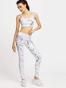 White Printed Mesh Paneled Crop Cami Top With Leggings