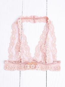 Pink Floral Lace Halter Neck Bralet