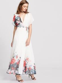 White Flower Print Flutter Sleeve Surplice Wrap Dress