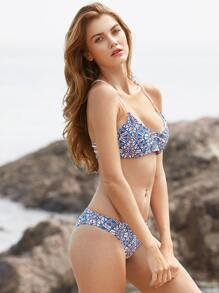Mixed Printed Ladder Cutout Back Bikini Set